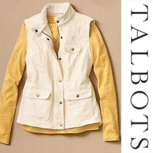 Talbots Cream Diamond Quilted Vest Medium Bronze